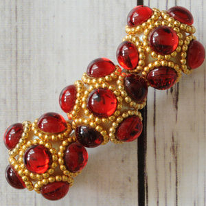 big French vintage hair clip barrette red gold cab